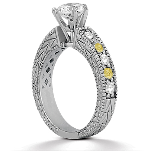 White & Yellow Diamond Vintage Engagement Ring 14k White Gold 0.70ct