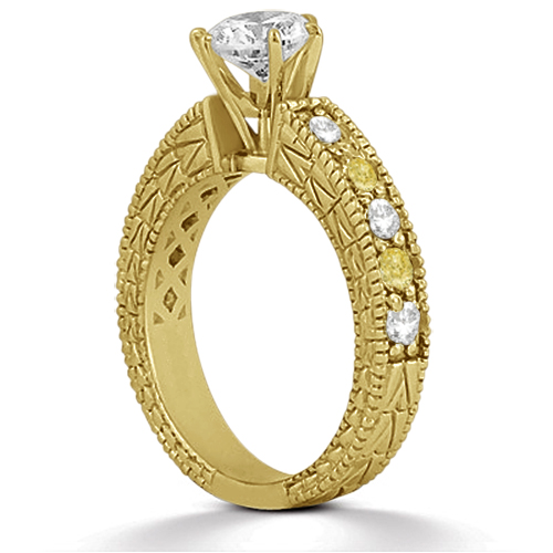 White and Yellow Diamond Engagement Ring 14K Yellow Gold 0.70ct