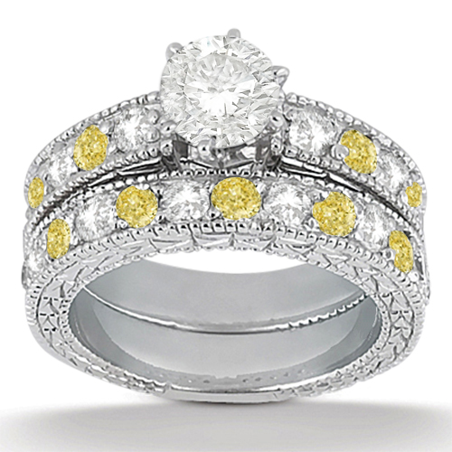 White & Yellow Diamond Engagement Ring & Band 14k White Gold (1.61ct)