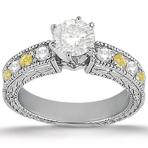 White & Yellow Diamond Engagement Ring & Band Palladium (1.61ct)