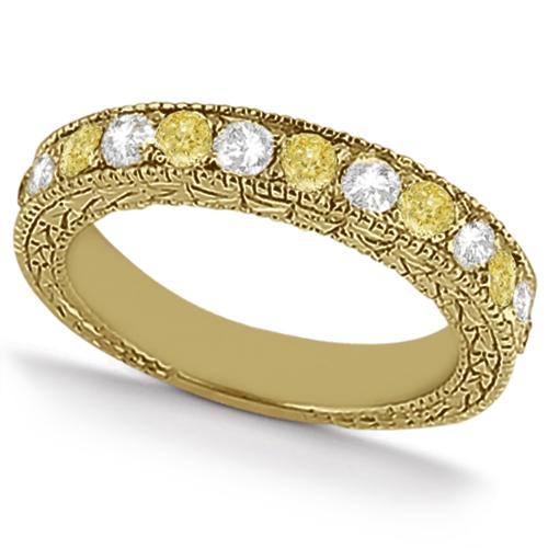 White & Yellow Diamond Wedding Band Antique Style 14K Yellow Gold 0.91ct