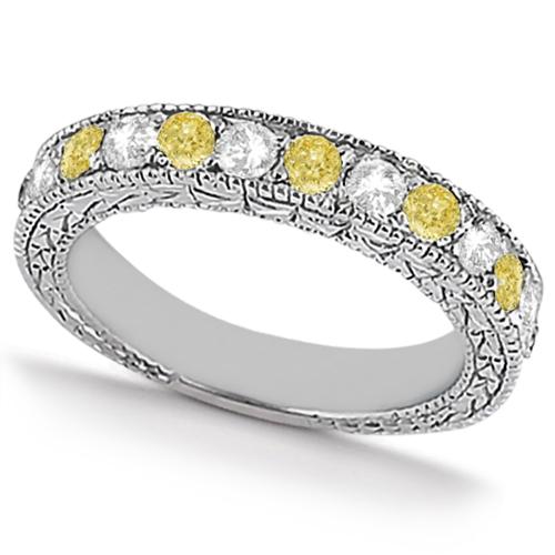 White & Yellow Diamond Wedding Band Antique Style in Palladium 0.91ct