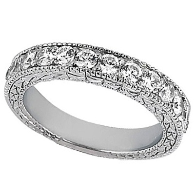 Antique Style Pave Set Wedding Ring Milgrain Band Palladium (1.00ct)