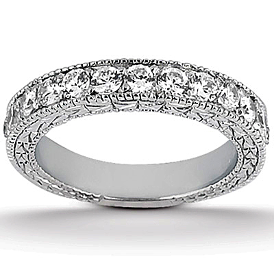 Antique Style Pave Set Wedding Ring Anniversary Band Platinum (1.00ct)