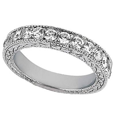 Antique Style Pave Set Wedding Ring Band 14k White Gold (1.00ct)