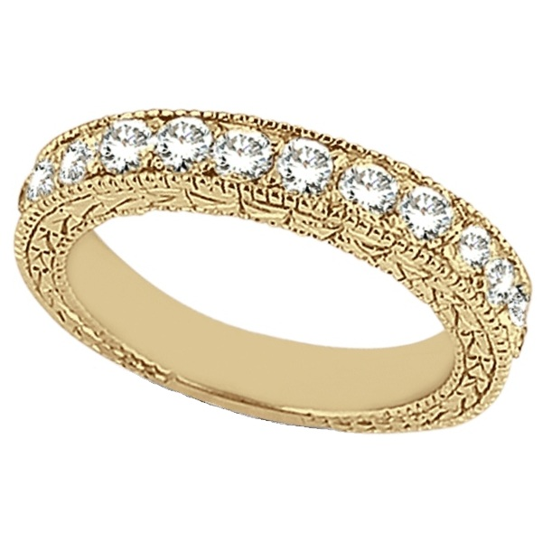 Antique Style Pave Set Wedding Ring Band 14k Yellow Gold (1.00ct)