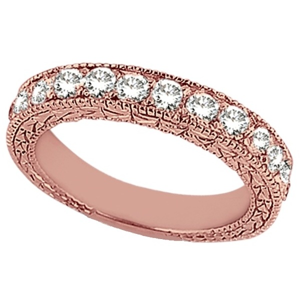 Antique Style Pave Set Wedding Ring Band 18k Rose Gold (1.00ct)