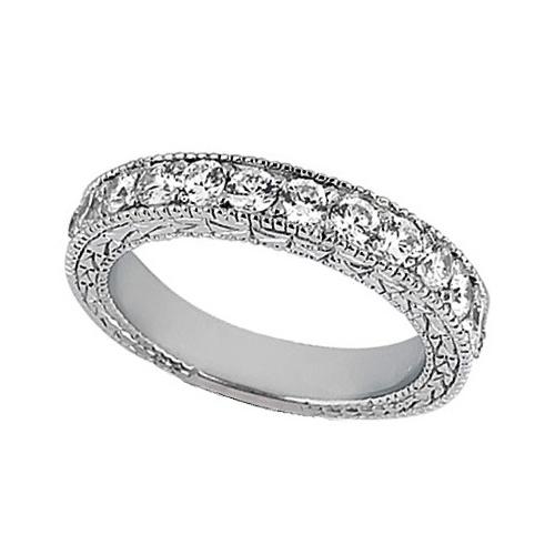 Antique Style Pave Set Wedding Ring Band 18k White Gold (1.00ct)