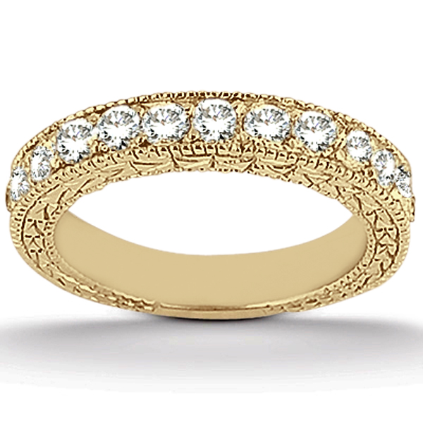 Antique Style Pave Set Wedding Ring Band 18k Yellow Gold (1.00ct)