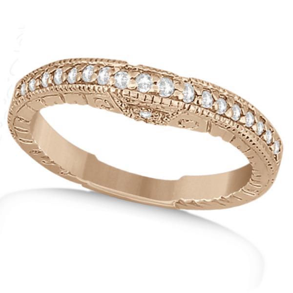Antique Style Art Deco Diamond Wedding Band 14K Rose Gold (0.20ct)