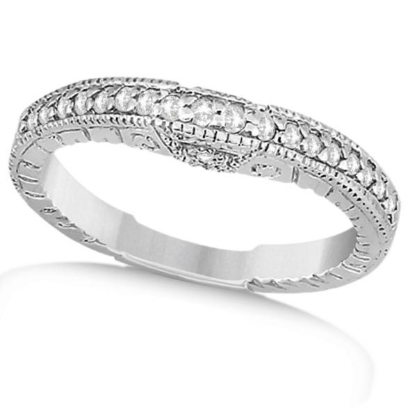 Antique Style Art Deco Diamond Wedding Band 14K White Gold (0.20ct)