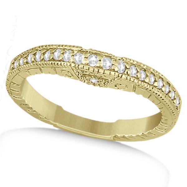 Antique Style Art Deco Diamond Wedding Band 14K Yellow Gold (0.20ct)
