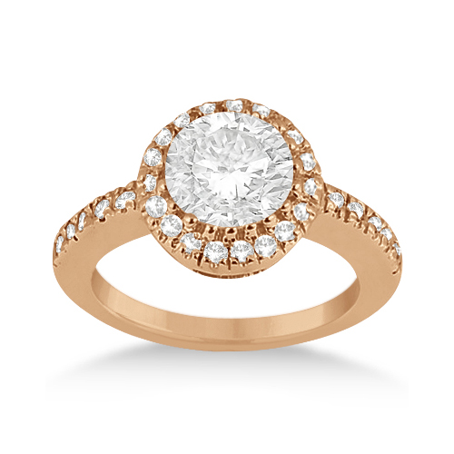 Pave Halo Diamond Engagement Ring Setting 18k Rose Gold (0.35ct)