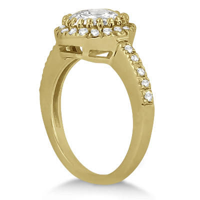 Pave Halo Diamond Engagement Ring Setting 18k Yellow Gold (0.35ct)