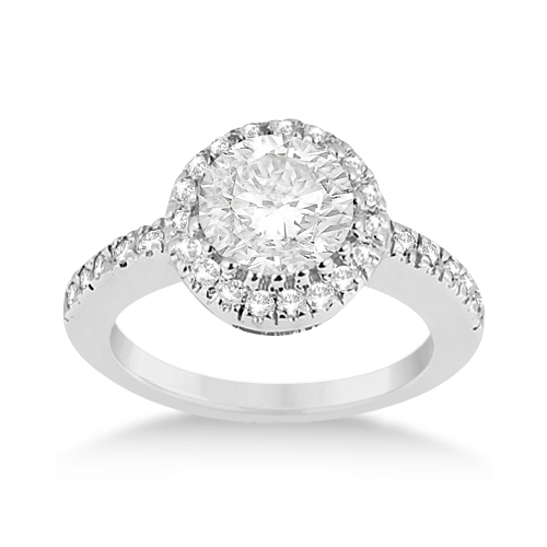 Pave Halo Diamond Engagement Ring Setting Platinum (0.35ct)