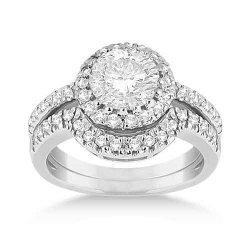Beautiful Halo Ring With Wedding Band Images Awesome Wedding