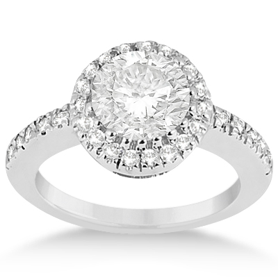 Halo Engagement Ring & Matching Wedding Band Platinum (0.55ct)