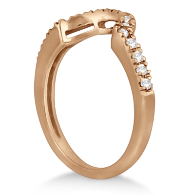 Pave Curved Diamond Wedding Band 14k Rose Gold 020ct