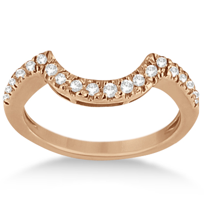 Pave Curved Diamond Wedding Band 18k Rose Gold 020ct