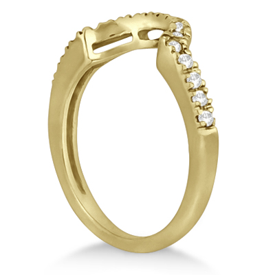 Pave Curved Diamond Wedding Band 18k Yellow Gold (0.20ct)