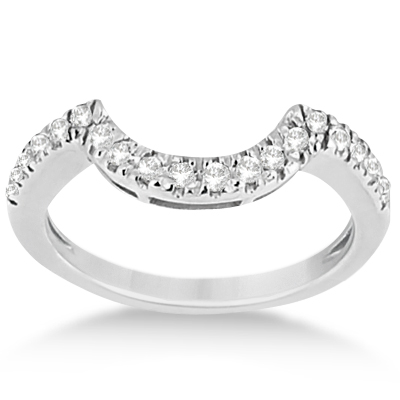 Pave Curved Diamond Wedding Band Palladium (0.20ct)