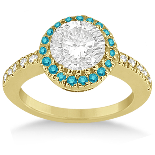 Halo Colored Diamond Engagement Ring Setting 14k Yellow Gold 0.31ct