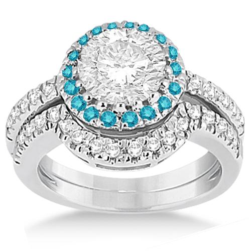 Halo Blue Diamond Engagement Ring Bridal Set 14k White Gold (0.51ct)