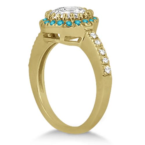 Halo Blue Diamond Engagement Ring Bridal Set 14k Yellow Gold (0.51ct)