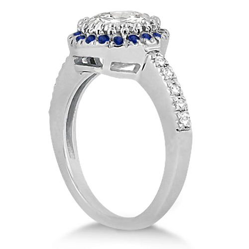 Pave Halo Sapphire & Diamond Engagement Ring 14k White Gold (0.45ct)