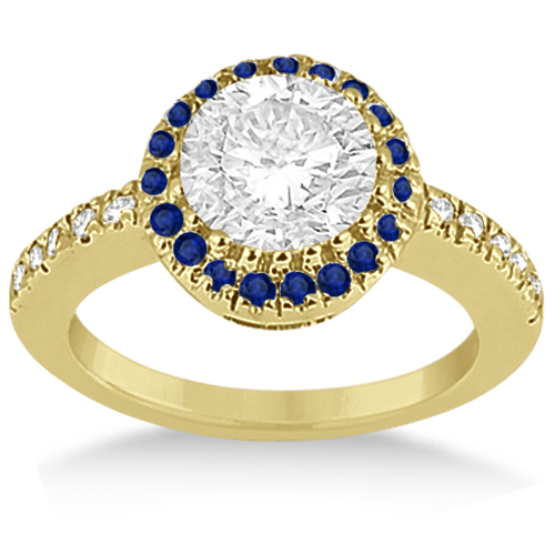 Pave Halo Sapphire & Diamond Engagement Ring 14k Yellow Gold (0.45ct)