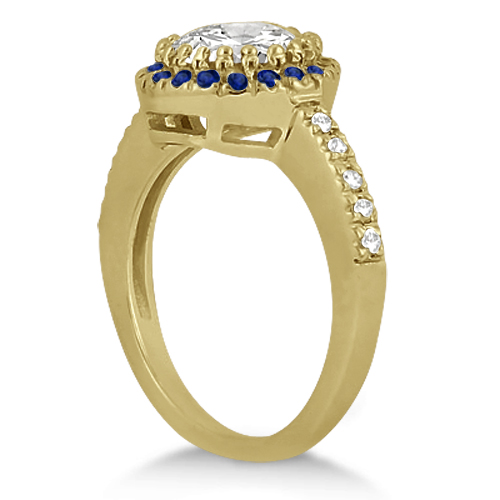 Halo Blue Sapphire & Diamond Bridal Set 14k Yellow Gold (0.65ct)