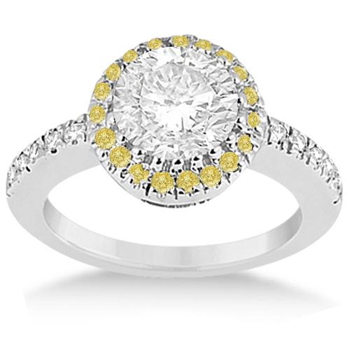 Halo Yellow Diamond Engagement Ring Bridal Set 14k White Gold (0.51ct)