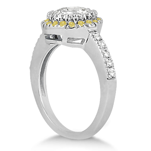 Halo Yellow Diamond Engagement Ring Bridal Set 14k White Gold (0.51ct)