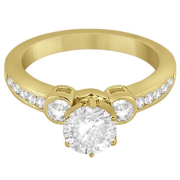 Bezel Set Three-Stone Diamond Engagement Ring 18k Y. Gold (0.50ct)