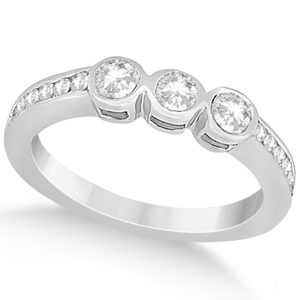 3 Stone Bezel Set Diamond Ring & Band Bridal Set Palladium (1.08ct)