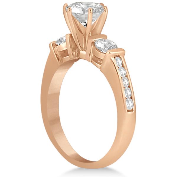 Channel & Bar-Set 3-Stone Diamond Bridal Set 18k Rose Gold (1.40ct)