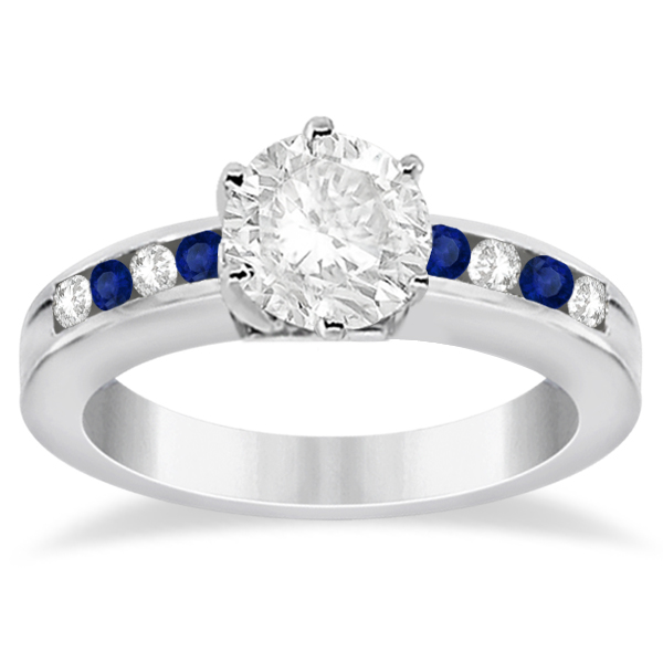 Channel Diamond & Blue Sapphire Engagement Ring 14K W Gold (0.40ct)