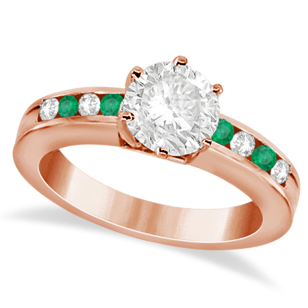 Channel Diamond & Emerald Engagement Ring 14K Rose Gold (0.40ct)