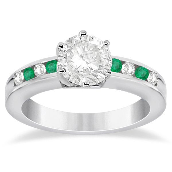 channel emerald engagement ring 14k white gold 0