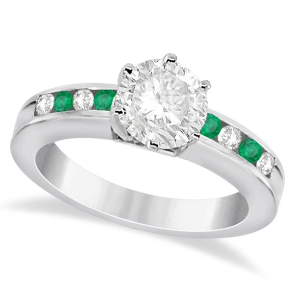 Channel Diamond & Emerald Engagement Ring Palladium (0.40ct)