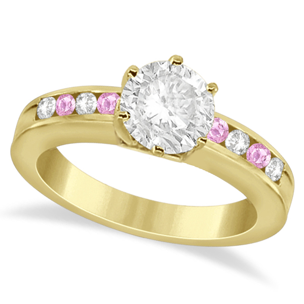 Channel Diamond & Pink Sapphire Engagement Ring 14K Y Gold (0.40ct)