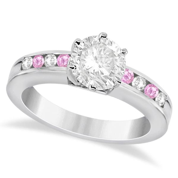 Channel Diamond & Pink Sapphire Engagement Ring Palladium (0.40ct)