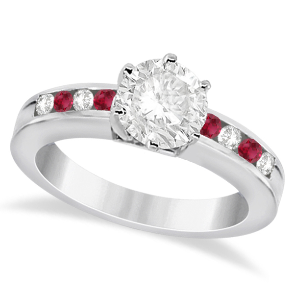Channel Diamond & Ruby Engagement Ring 14K White Gold (0.40ct)