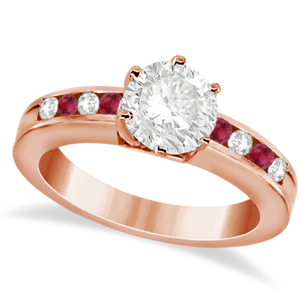 Channel Diamond & Ruby Engagement Ring 18K Rose Gold (0.40ct)