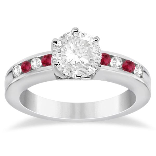 Channel Diamond & Ruby Engagement Ring Platinum (0.40ct)