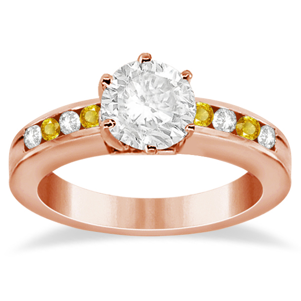 Channel Diamond & Yellow Sapphire Engagement Ring 14K R Gold (0.40ct)