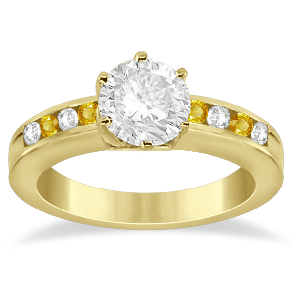 Channel Diamond & Yellow Sapphire Engagement Ring 14K Y Gold (0.40ct)
