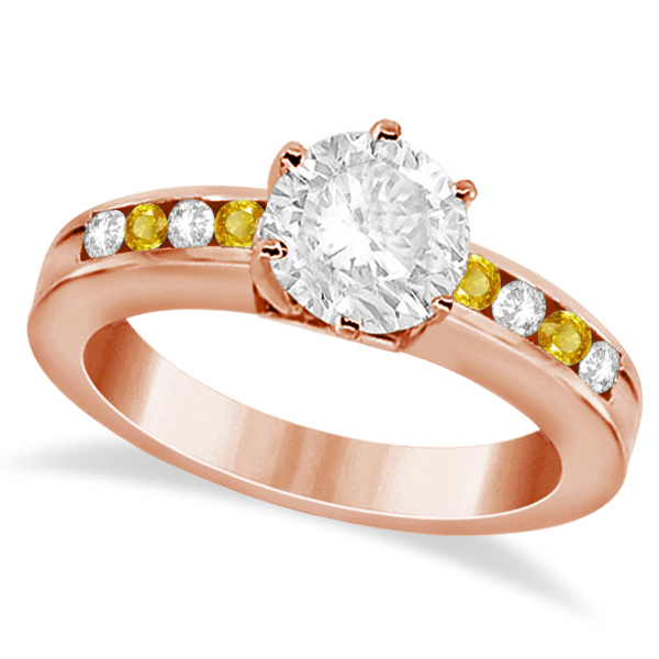 Channel Diamond & Yellow Sapphire Engagement Ring 18K R Gold (0.40ct)