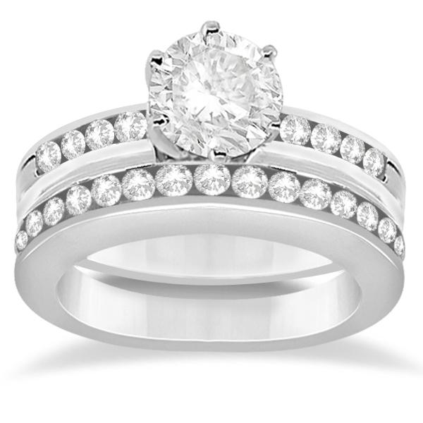 Classic Channel Set Diamond Bridal Ring Set 18K White Gold (0.72ct)