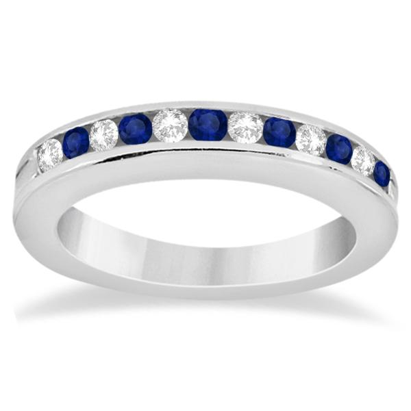 Semi-Eternity Blue Sapphire Gem Bridal Set 14K White Gold (0.96ct)